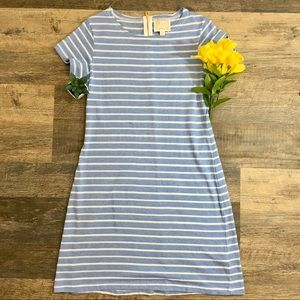 Sail To Sable Blue Short Sleeve Striped Dress